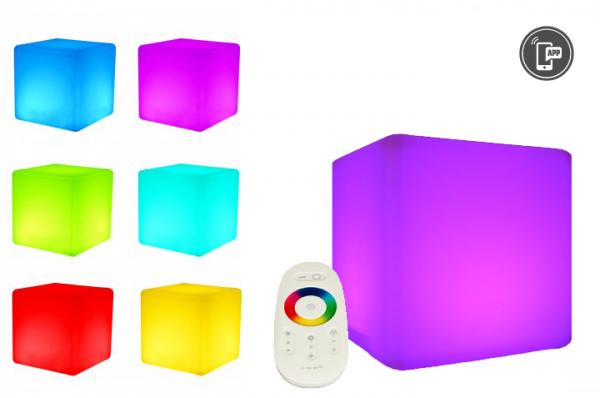 7even LED Design Cube 40cm / LED-Sitzwürfel, In & Outdoor, RF Fernbedienung und APP Steuerung mögli