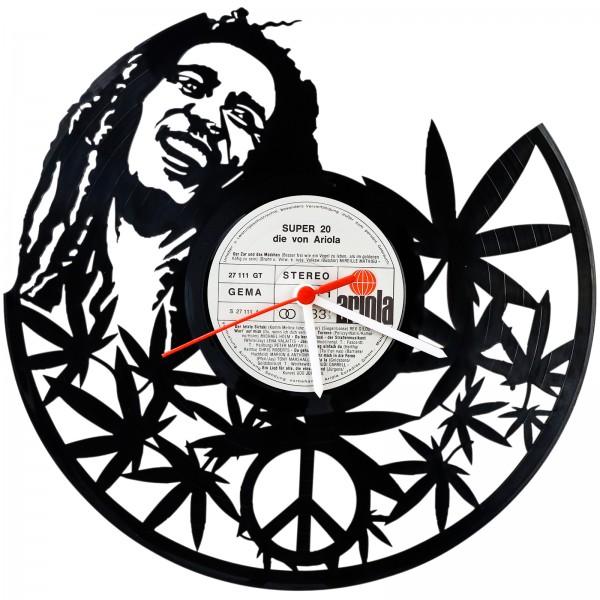 Schallplatten Wanduhr Bob Marley