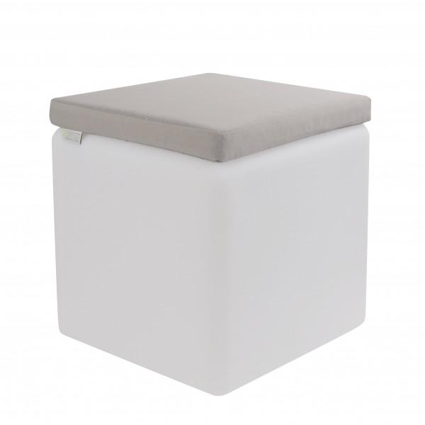 LED Design Cube 50 / LED Leuchtwürfel Bundle mit Wasserdichten Sitzkissen Silber-grau 50cm