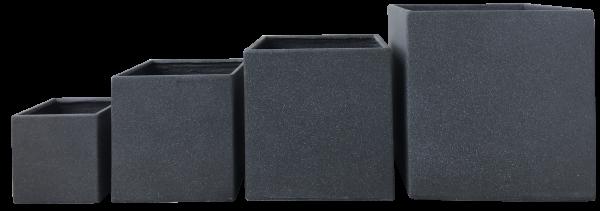 Lounge Cube Pot Set Grau/Granit Optik / Pflanztopf Set quadratisch Set / 26cm, 37cm, 45, 55cm
