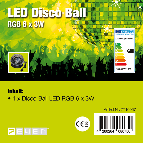 LED Disco Ball Lichteffekt 6 x 3 RGB