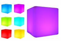 7even LED Design Cube 60 / LED Leucht Sitzwürfel / In und Outdoor / Akku und RF-Fernbedienung, 60cm